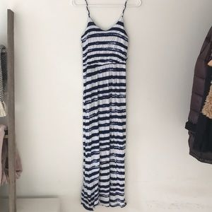 Navy and white cotton maxi dress